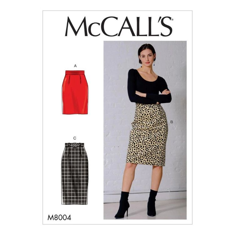 McCall's Pattern M8004 Misses' Skirt and Belt