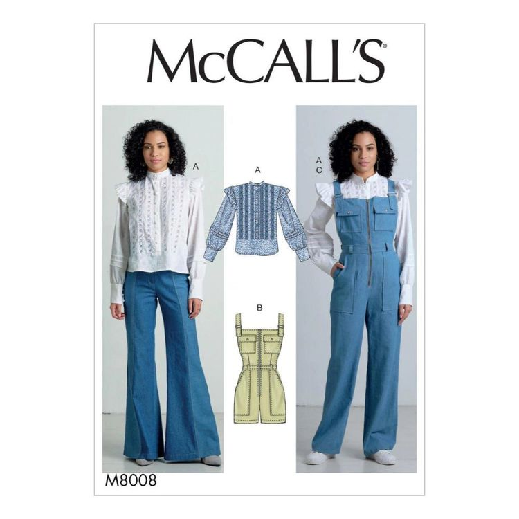 McCall's Pattern M8008 Misses' Top, Romper, and Overalls