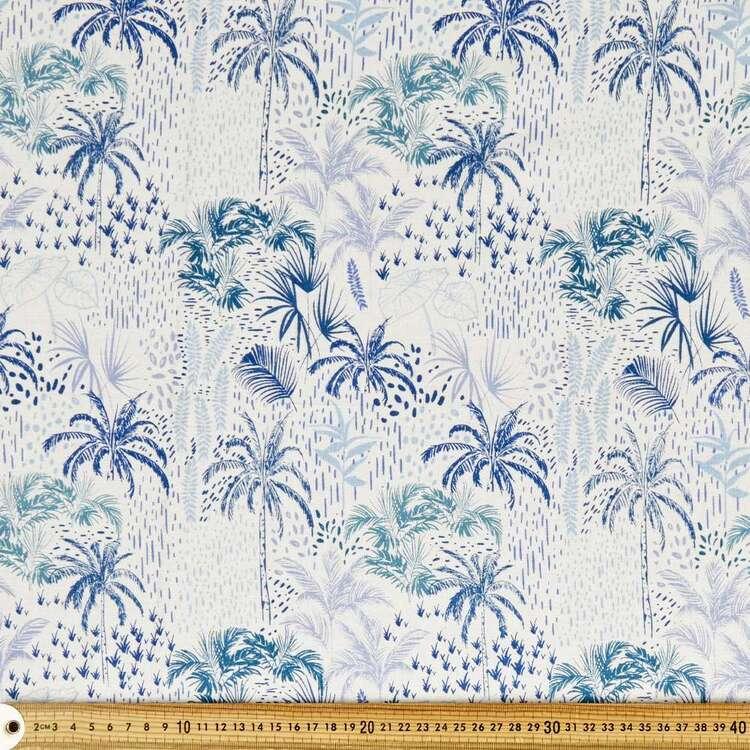 Blue Palm Printed Cotton Multipurpose Fabric