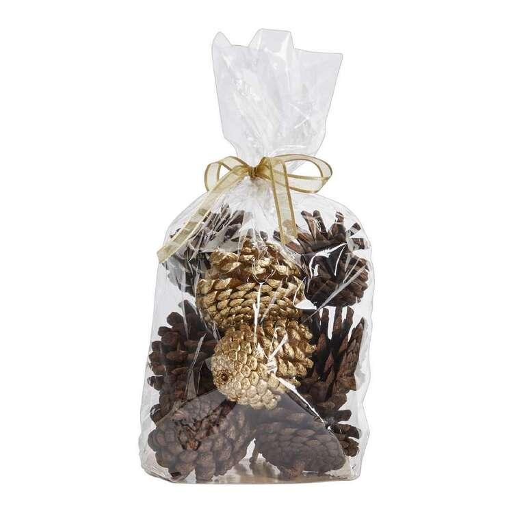 Vivante Brights Natural & Gold Pine Cones Bag