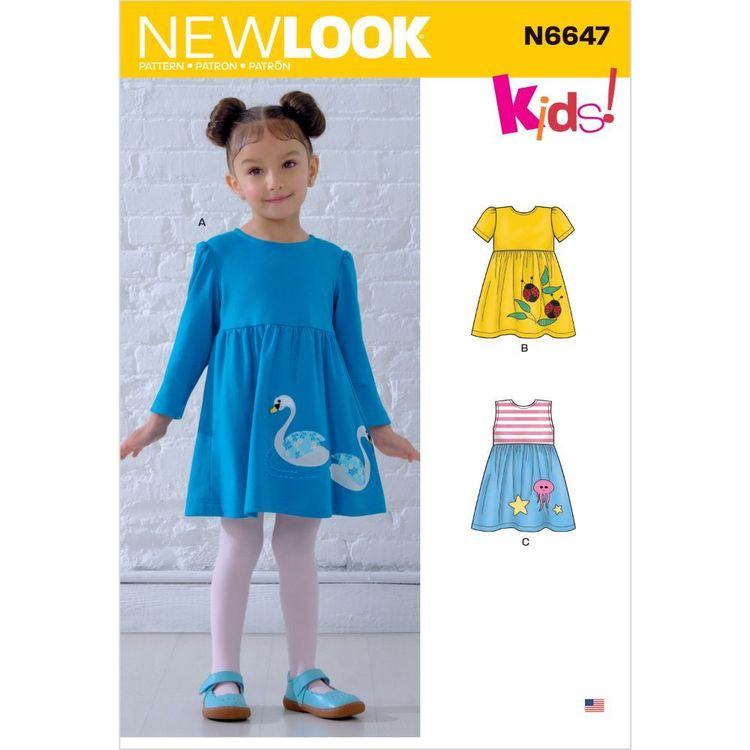 New Look Pattern N6647 Toddlers' Dresses with Appliques