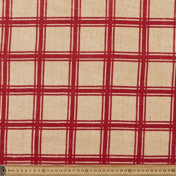 Christmas Stripe Hessian Fabric