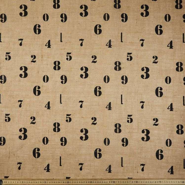 Numbers Printed Hessian Fabric
