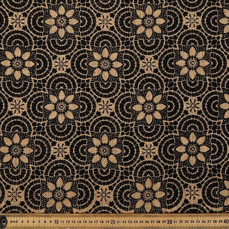 Geo Floral Printed Hessian Fabric