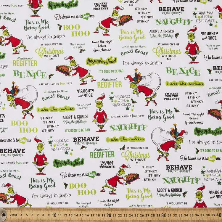 Grinchmas White Christmas Words Cotton Fabric