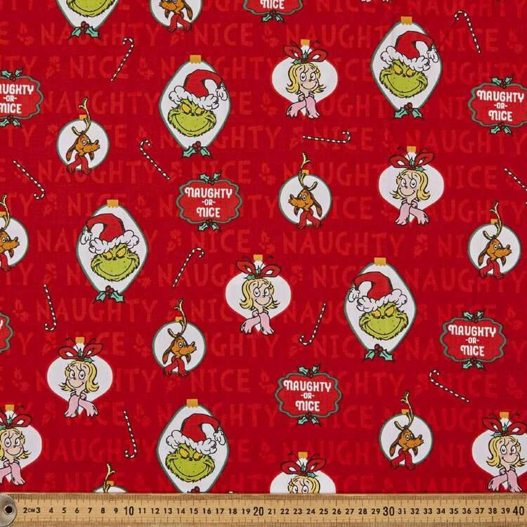 Grinchy Ornaments Cotton Fabric