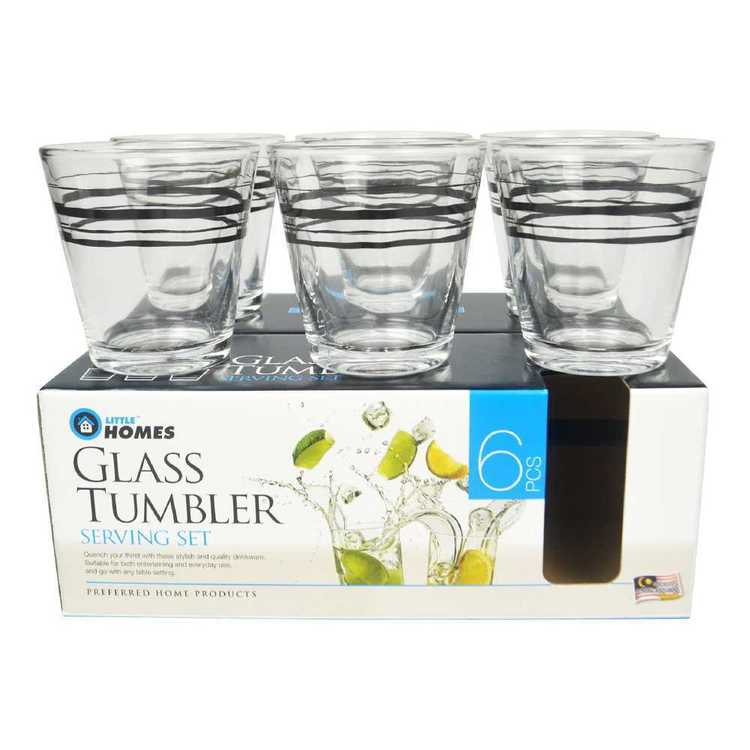 Little Homes Stripe Glass Tumbler 6 Pack