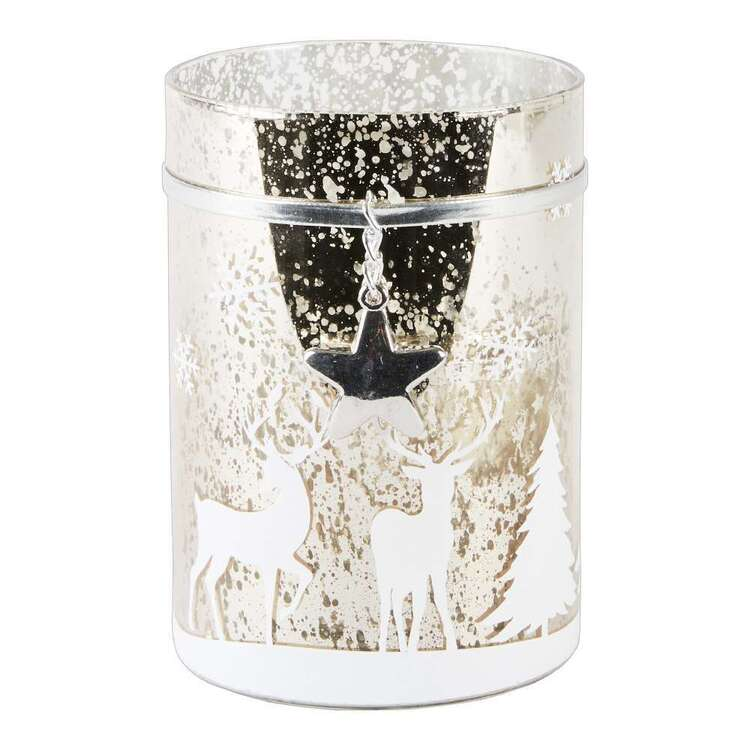 Living Space Festive Xmas Reindeer Print Candle Holder