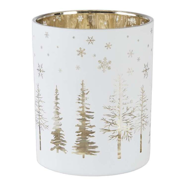 Living Space Festive Xmas Tree Print Candle Holder