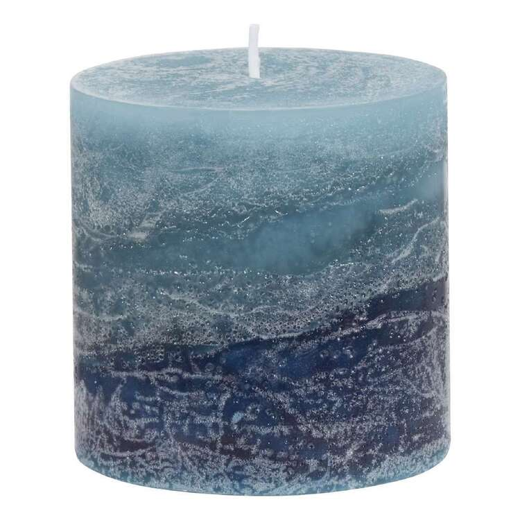 Bouclair Autumn Folk Ocean Breeze Scented Pillar Candle Blue