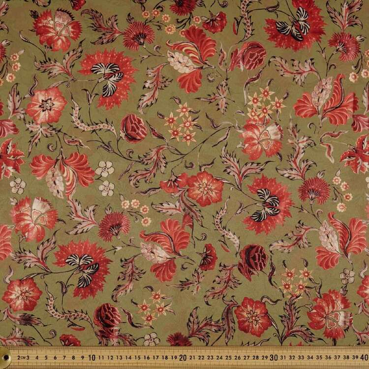 Kyoto Dull Satin Garden Printed 140 cm Fabric