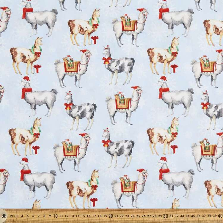 Llama Holiday Cotton Fabric