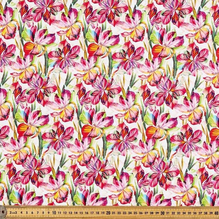 Pink Irises Digital Quilters Cotton
