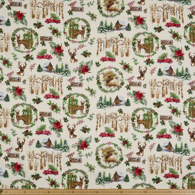 Fabric Traditions Ribbon Holly Cotton Fabric