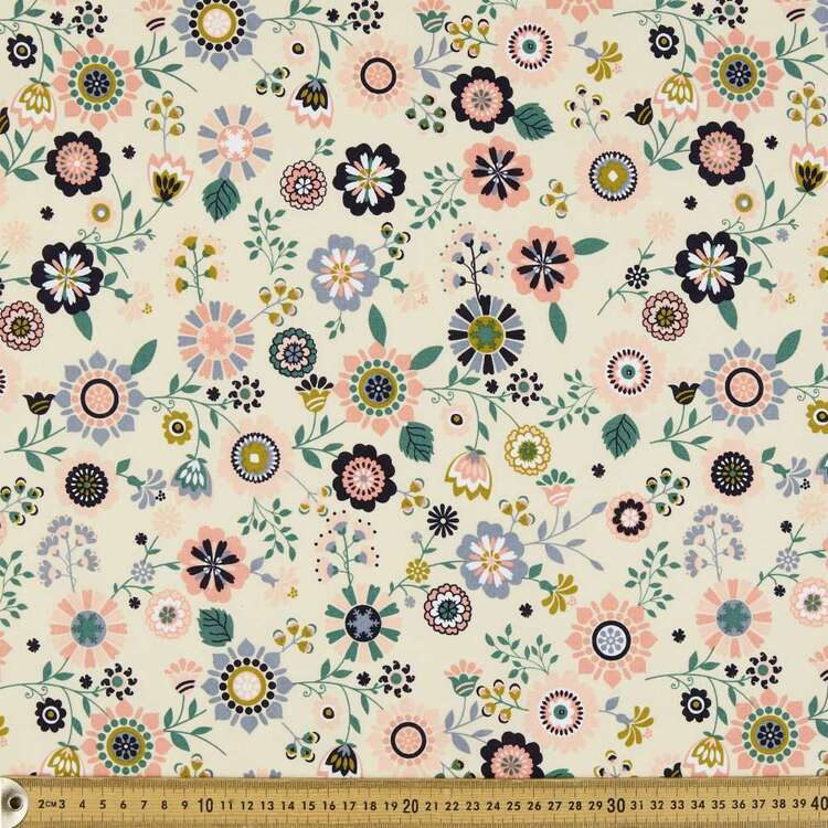 Flower Garden Organic Cotton Fabric
