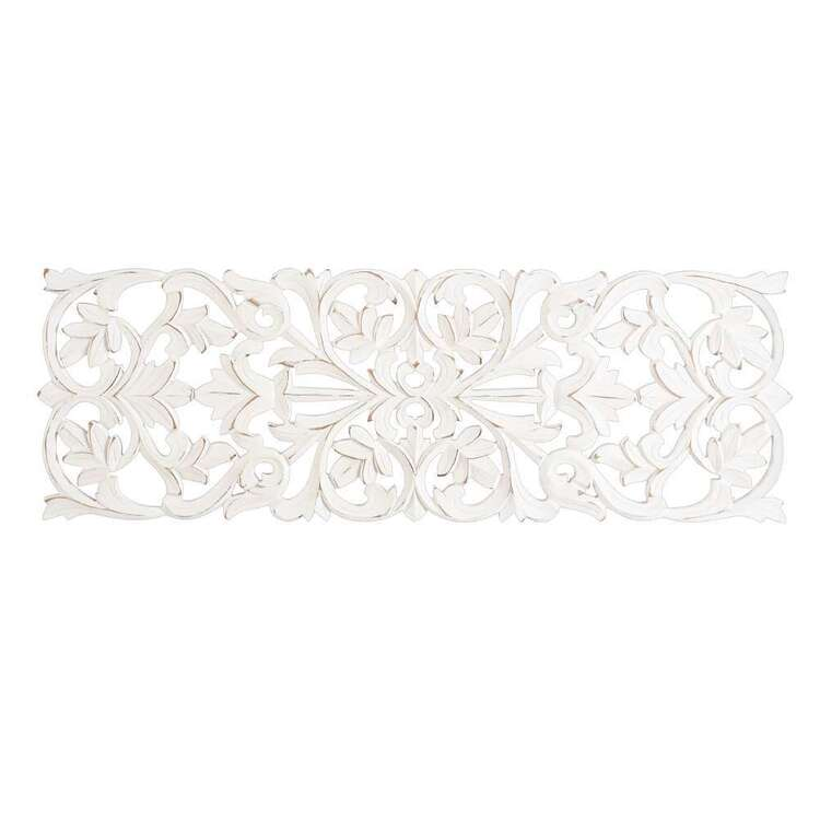 Living Space White Etched Rectangle Wall Hanging