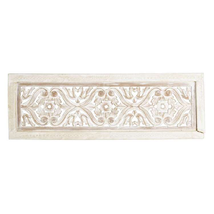 Living Space Etched Wooden Rectangle Wall Hanging