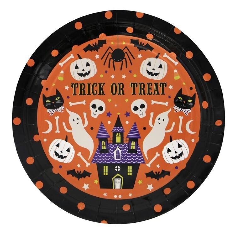 Spooky Hollow Orange Paper Plates 8 Pack