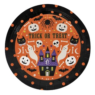Spooky Hollow Orange Paper Plates 8 Pack