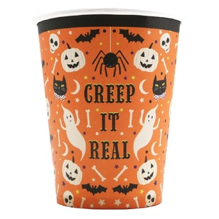 Spooky Hollow Orange Paper Cups 8 Pack