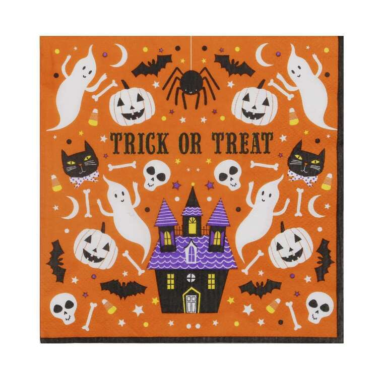 Spooky Hollow Orange Paper Napkins 16 Pack