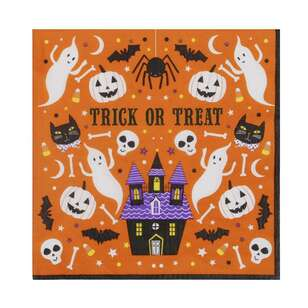 Spooky Hollow Orange Paper Napkins 16 Pack
