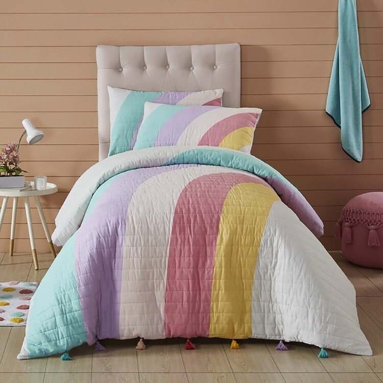 Kids House Rainbow Jumble Quilted Quilt Cover Set
