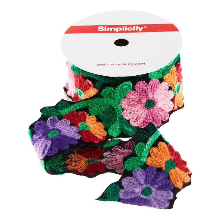 Simplicity 38.1 mm Embroidered Floral Trim