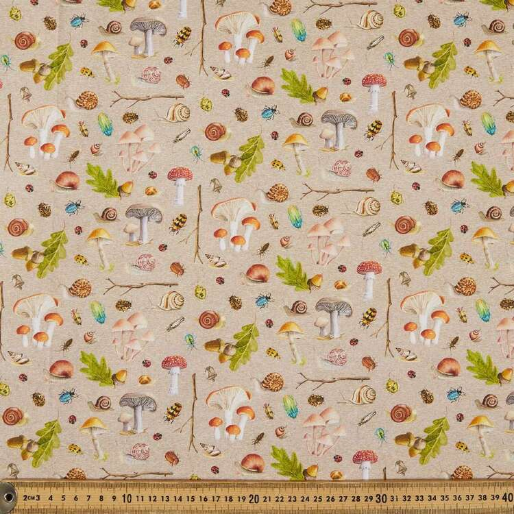 Nature Trail Mushrooms & Bugs Cotton Fabric