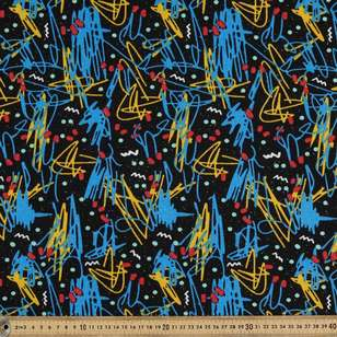 Abstract Printed 145 cm Sports Active Fleece Fabric
