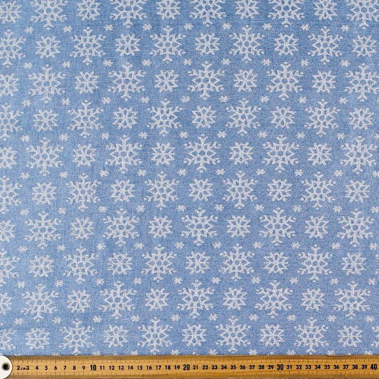 Party Play Snowflake Printed 110 cm Poly Lurex Lame Fabric