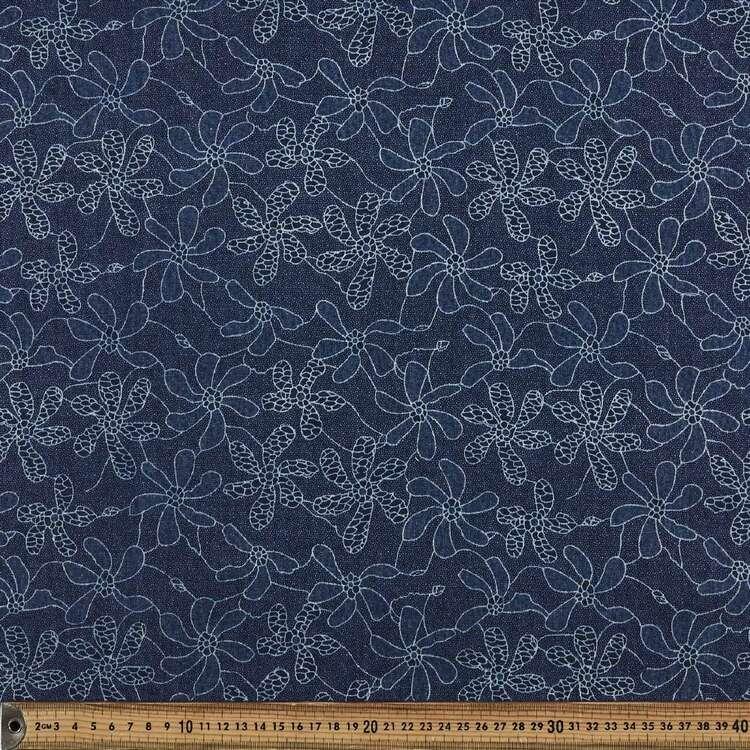 Lace Look Printed 142 cm Denim Fabric