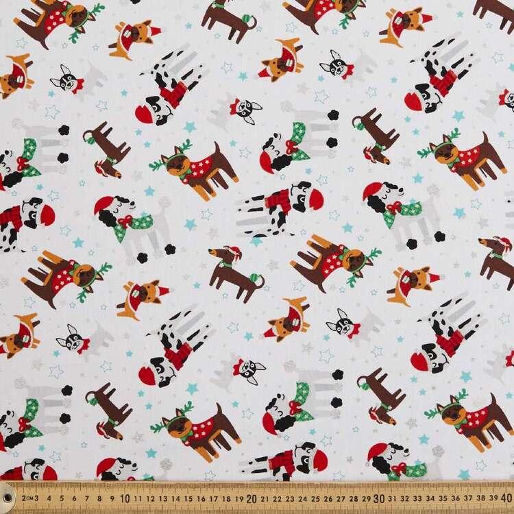 Dogs Glitter Christmas Fabric