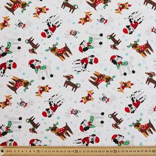 Dogs Glitter Christmas Fabric