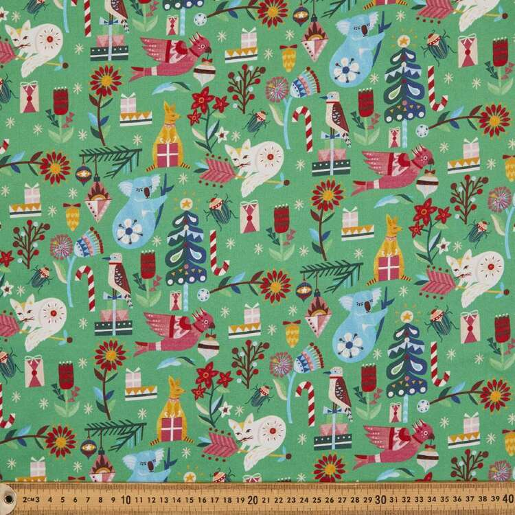 Andrea Smith Green Christmas Collection Fabric