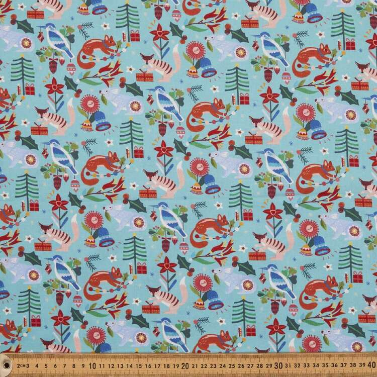 Andrea Smith Teal Christmas Collection Fabric