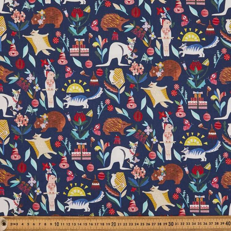 Andrea Smith Navy Christmas Collection Fabric