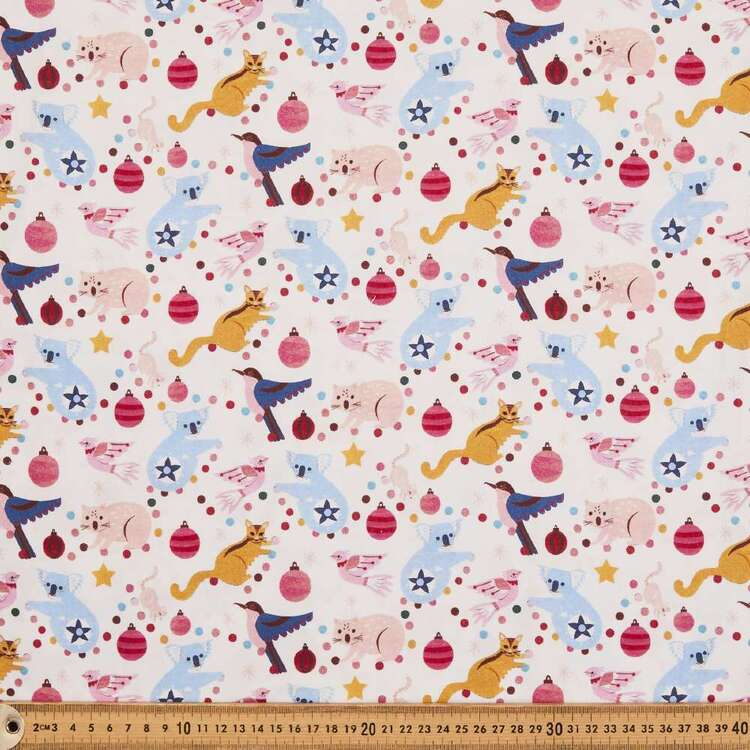 Andrea Smith Cream Christmas Collection Fabric