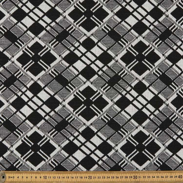Black And White Printed 155 cm Jacquard Knit Fabric