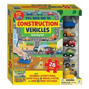 Hinkler Pull Back & Go Construction Vehicles Activity Set