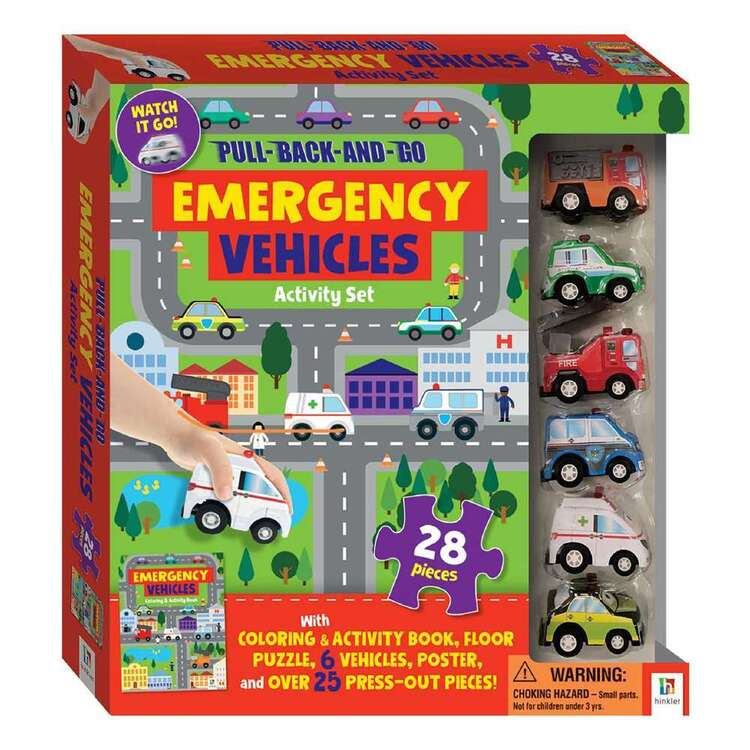 Hinkler Pull Back & Go Emergency Vehicle Activity Set