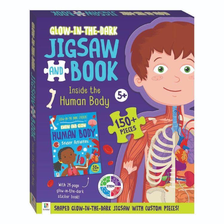 Hinkler Glow In The Dark Inside Human Body Jigsaw Puzzle & Book