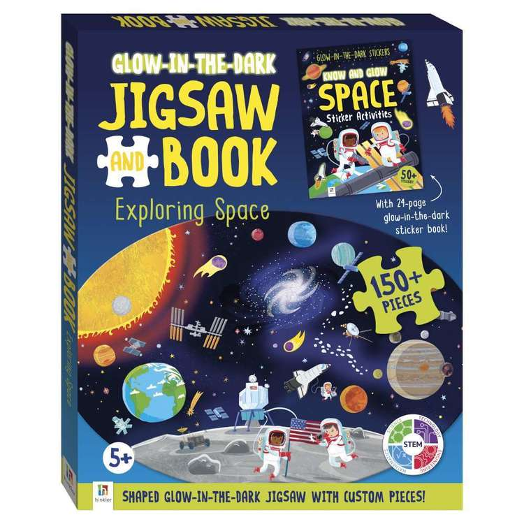 Hinkler Glow In The Dark Exploring Space Jigsaw Puzzle & Book