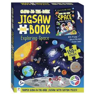 Hinkler Glow In The Dark Exploring Space Jigsaw Puzzle & Book