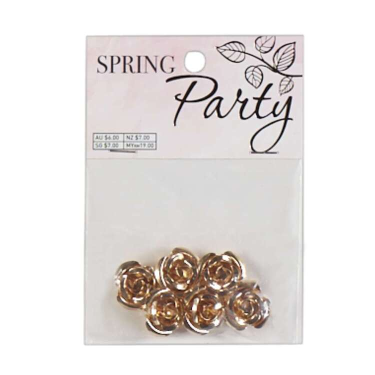 Ribtex 6 Pieces Gold Rose Spring Party Pack
