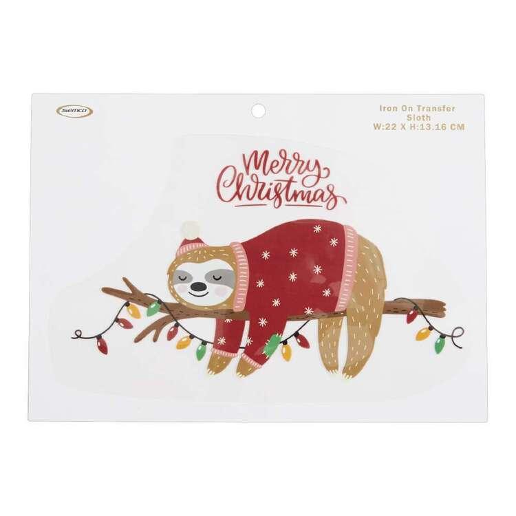 Christmas Sloth Iron On Transfer
