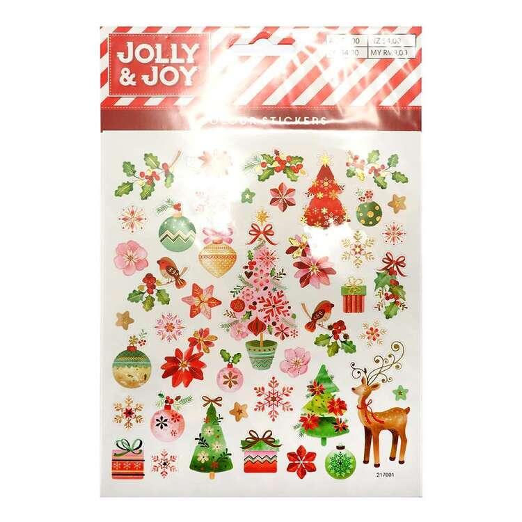 Jolly & Joy Pink Christmas Tree Stickers