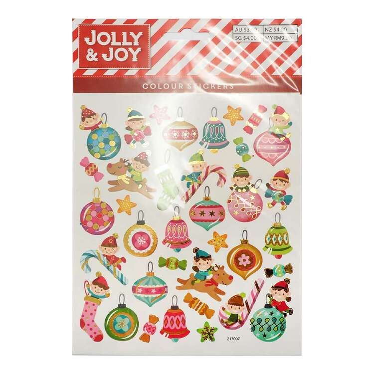 Jolly & Joy Pink Christmas Baubles Stickers