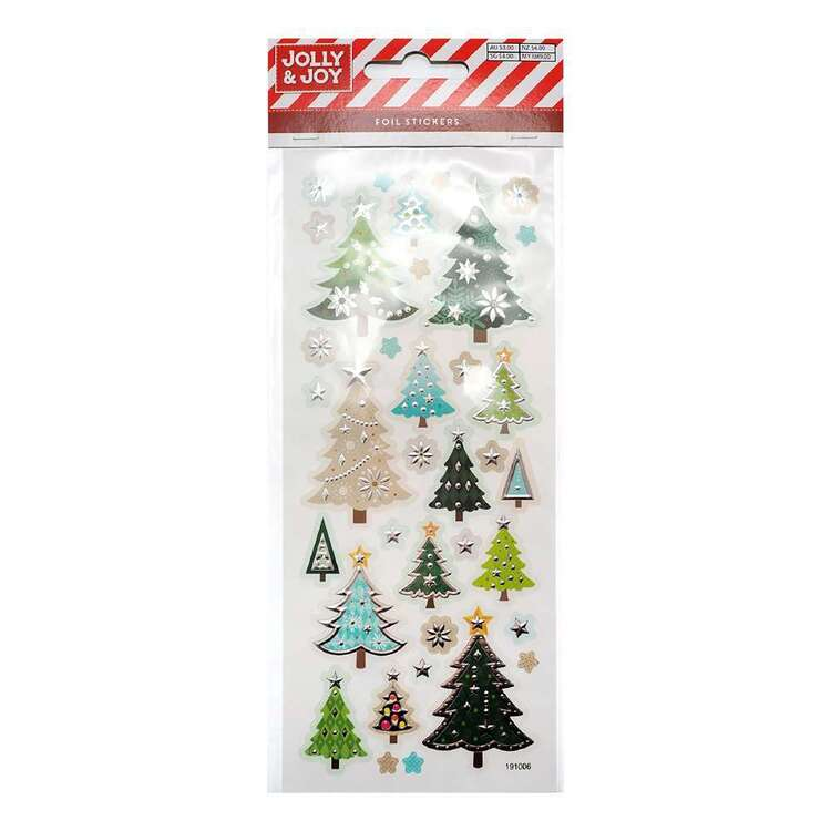 Jolly Joy Christmas Tree Foil Stickers Multicoloured