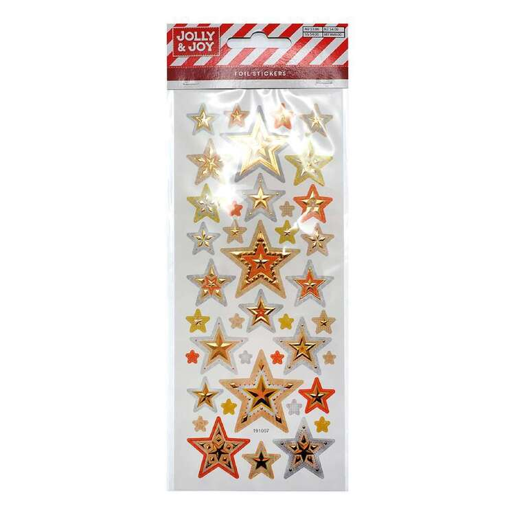 Jolly & Joy Christmas Gold Star Foil Stickers